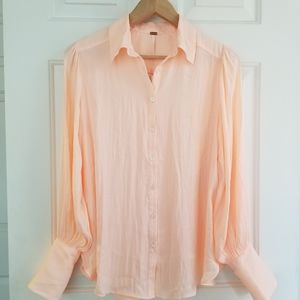 NWT FREE PEOPLE Rose/Tyrie Crepe Button Down Oversized Shirt